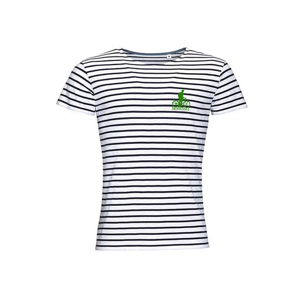 BICYCLE EMBROIDERED GREEN MOTIF STRIPED TEE