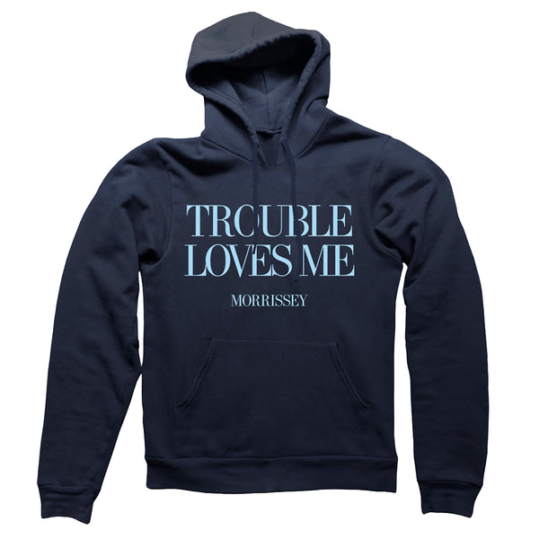 "DEEP NAVY """"TROUBLE LOVES ME"""" PULLOVER HOOD"