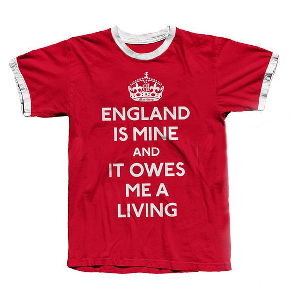 RED ENGLAND IS MINE RINGER T-SHIRT