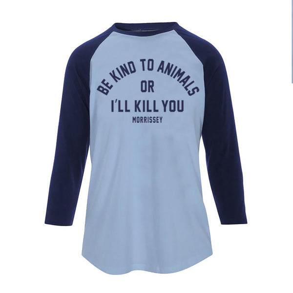BE KIND LADIES BASEBALL T SHIRT SKY BLUE NAVY