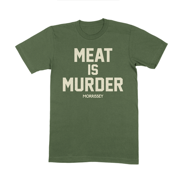 MIL GREEN MEAT IS MURDER TEE (ECRU PRINT)