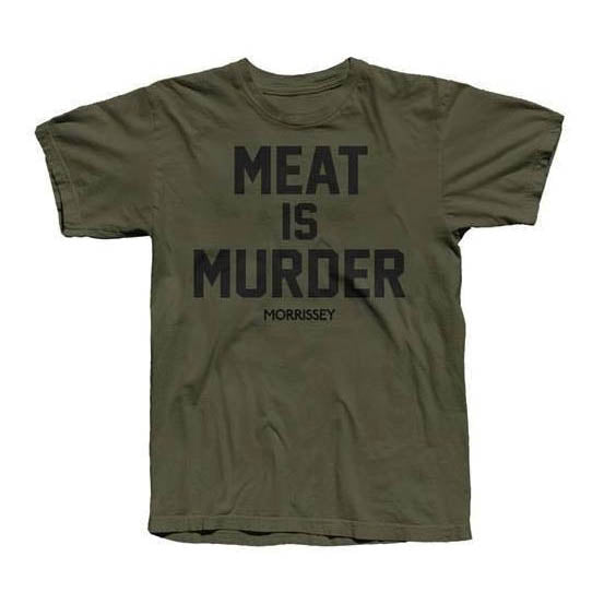 MEAT IS MURDER MENS OLIVE T-SHIRT