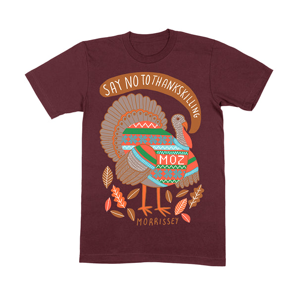 SAY NO TO THANKSKILLING BURGUNDY T SHIRT
