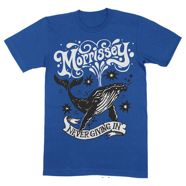 NEVER GIVING IN - WHALE METRO BLUE T SHIRT