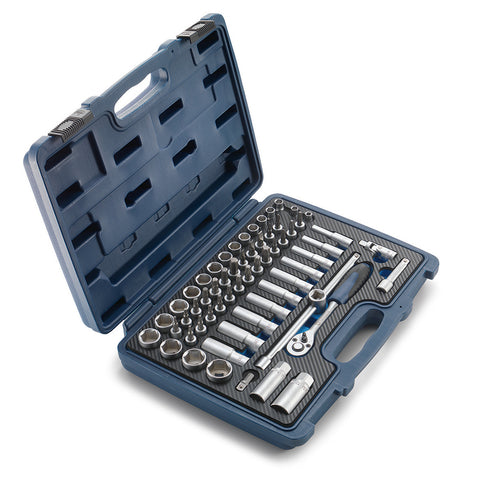 00029098600 Husqvarna 60 piece tool kit. Blue box, silver color tools.