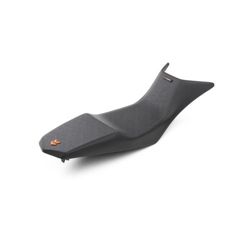 KTM Powerparts Low Race Seat, Black with Orange arrow logo on the back and KTM word logo on the front. For 790/890 Adventure 2019+