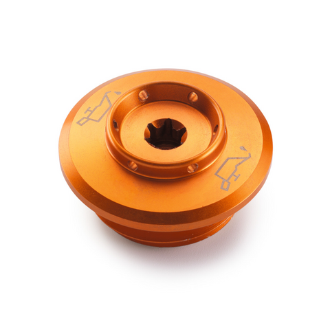 KTM oil filler plug in billet aluminum orange for Duke 890 R