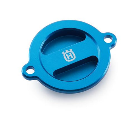 Oil Filter Cover, Aluminum Blue