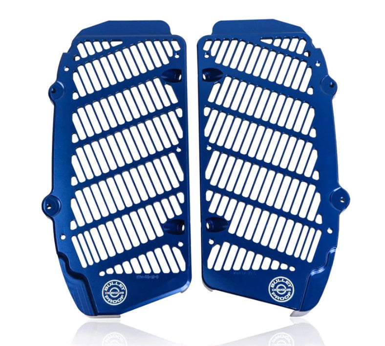 Bullet Proof Designs Radiator Guards in blue for Husqvarna Motorcycles 2017-2021