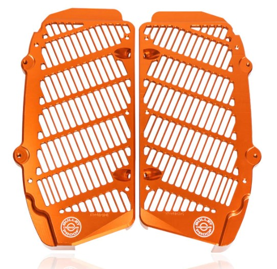 Bullet Proof Designs Radiator Guards in orange for KTM EXC-F XCF SX SXF 2017-2021