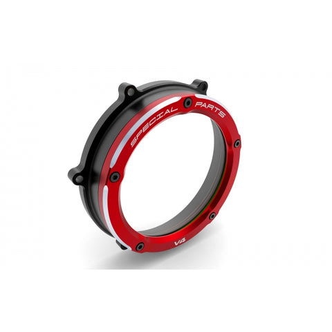 Ducabike Clear Wet Clutch Cover with a red outer ring for Ducati Streetfighter V4