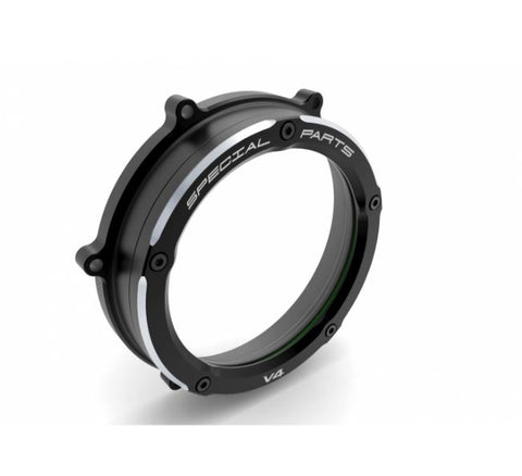 Ducabike Clear Wet Clutch Cover with a Black outer ring for Ducati Panigale V4