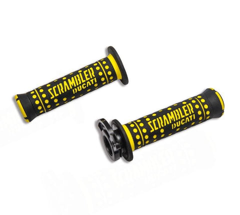 yellow and black Scrambler handgrips