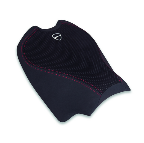 Ducati comfort seat in black with red seam and Ducati insignia for Streetfighter V4