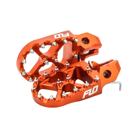 Flo Designs Wider Billet Foot Pegs, Orange or Black for KTM EXC 250-500 2017+