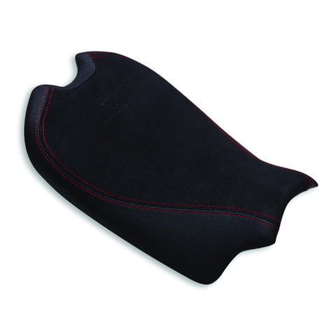 Ducati Performance 20mm lower seat in black with red stitching along the edges for Streetfighter V4