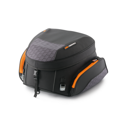 KTM Expandable Tail Bag Large size in black with orange trim. For 790 Duke/Adventure