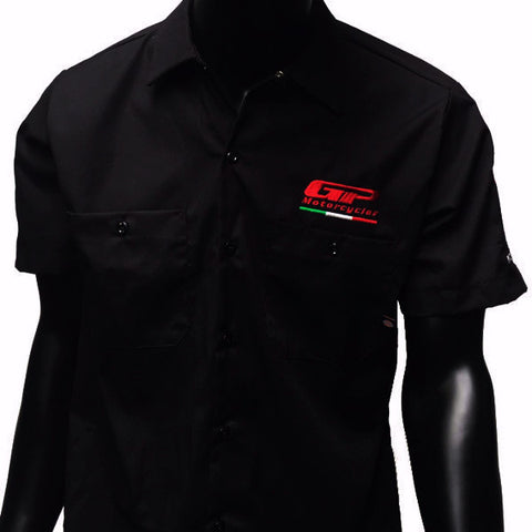GP Logo Dickies Button Up Work Shirt with logos on the sleeves of Aprilia, Ducati, Husqvarna, KTM, MV Agusta, and Norton