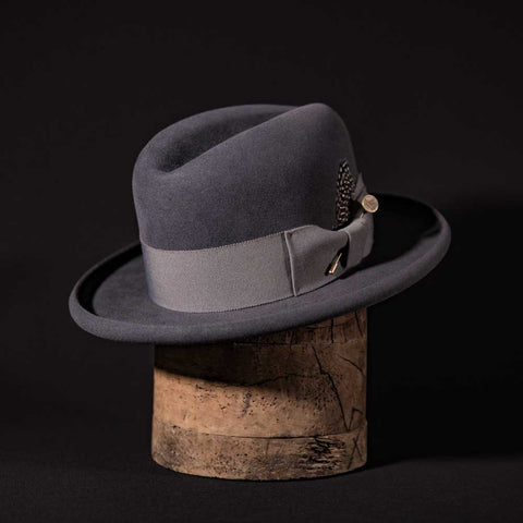 Custom Centre Crease Hat steel grey with grey ribbon