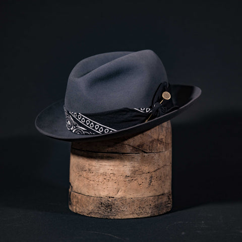 Custom centre dent fedora hat in steel grey with black bandana