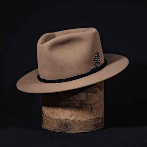Wide brim custom camel hat with black rope