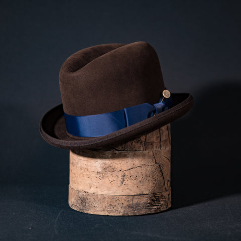 Custom homburg in walnut with navy ribbon