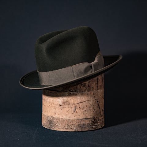 Custom tall teardrop fedora hat in moss with moss ribbon