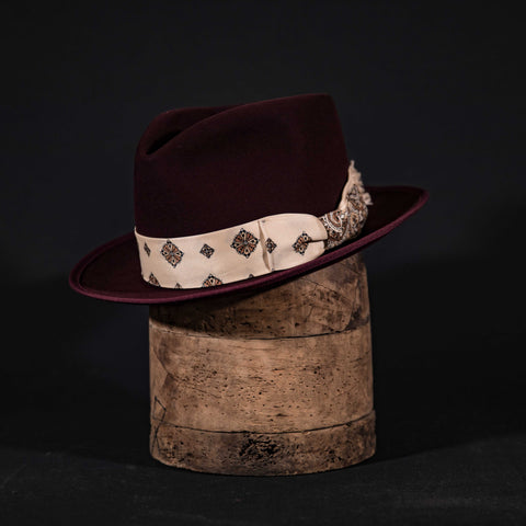 Custom centre dent fedora hat in black cherry with vintage scarf