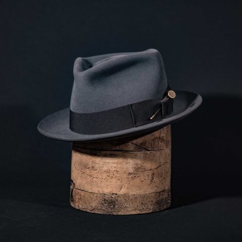 Custom teardrop fedora hat in steel grey with dark grey ribbon