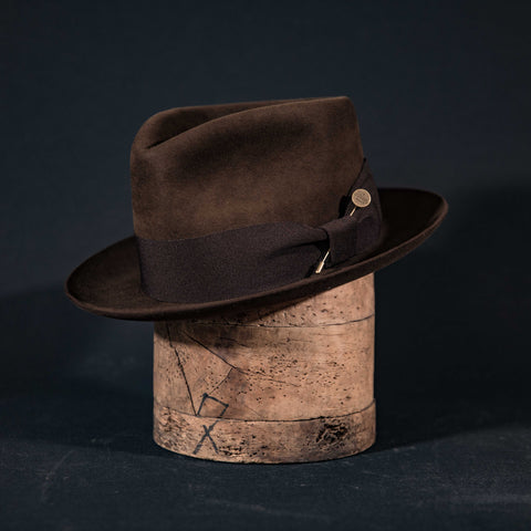 Teardrop fedora hat in walnut brown with brown ribbon