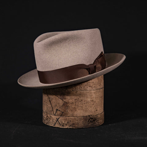 Classic Teardrop fedora hat in natural with brown ribbon