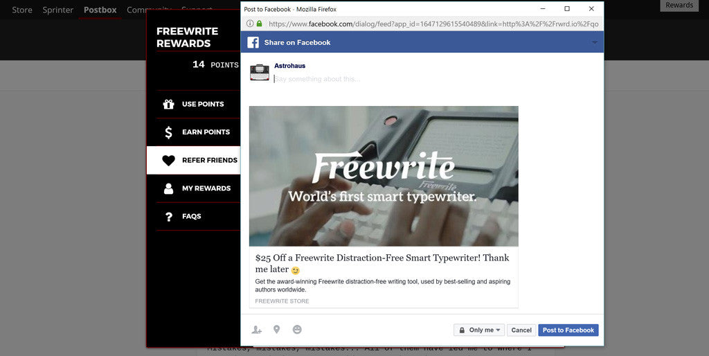 Getting Started with Freewrite Rewards - Refer Friends Facebook