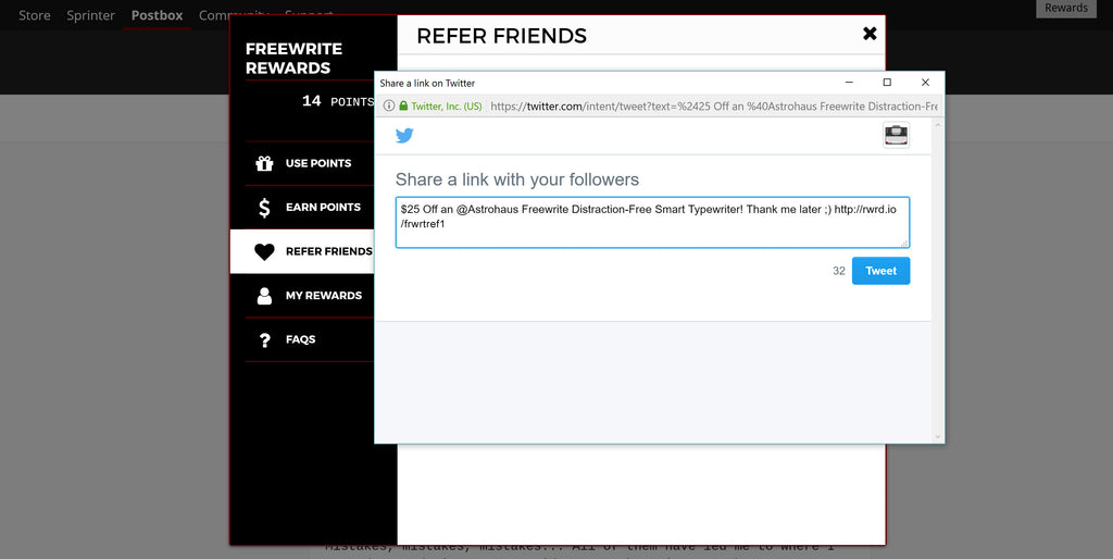 Getting Started with Freewrite Rewards - Refer Friends on Twitter