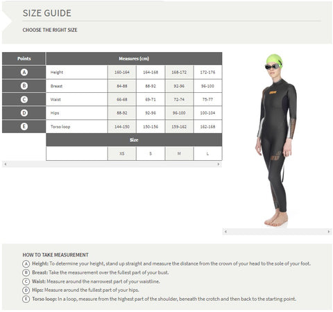 Arena Wetsuit Size Chart