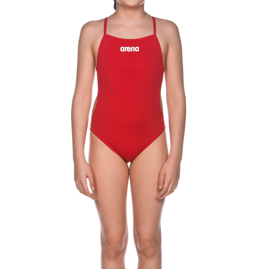 Arena Girl's Solid Light Tech Jr Red-White