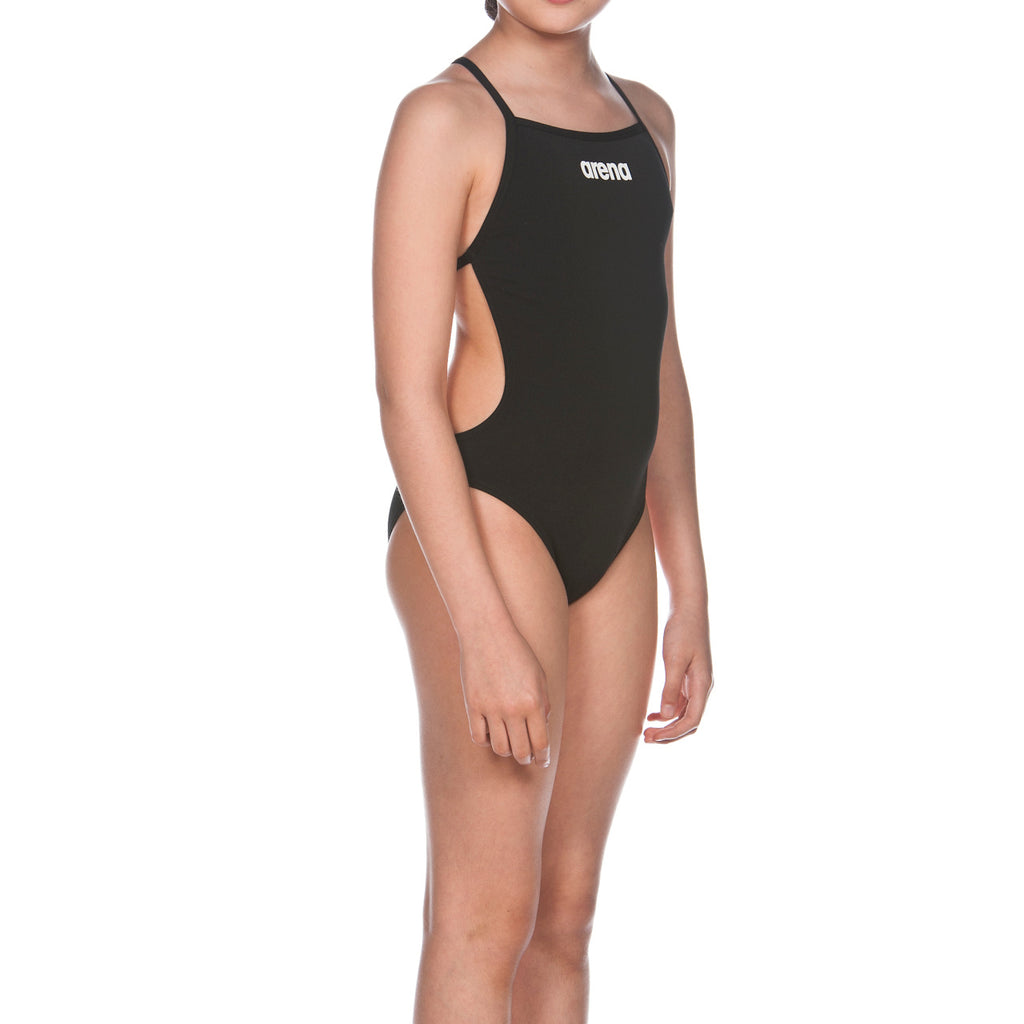Arena Girl's Solid Light Tech Jr Black-White