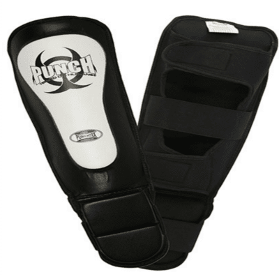 Punch Equipment MULTI-ITEM 90423      ~ MMA SHIN PADS BLACK/WHITE New zealand nz vaughan