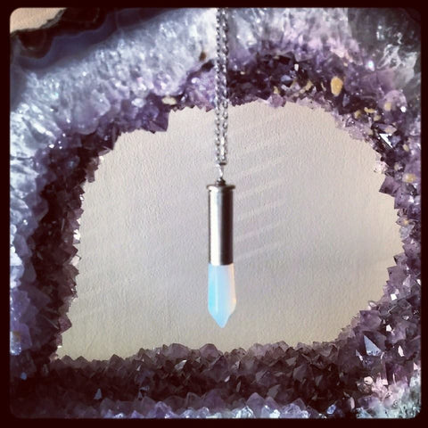 Opalite Point Silver Bullet Necklace
