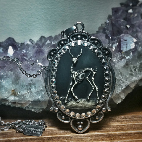 Deer Skull Cameo Necklace