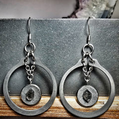 Reclaimed Steel Hoop Earrings - Hematite and Herkimer Diamond