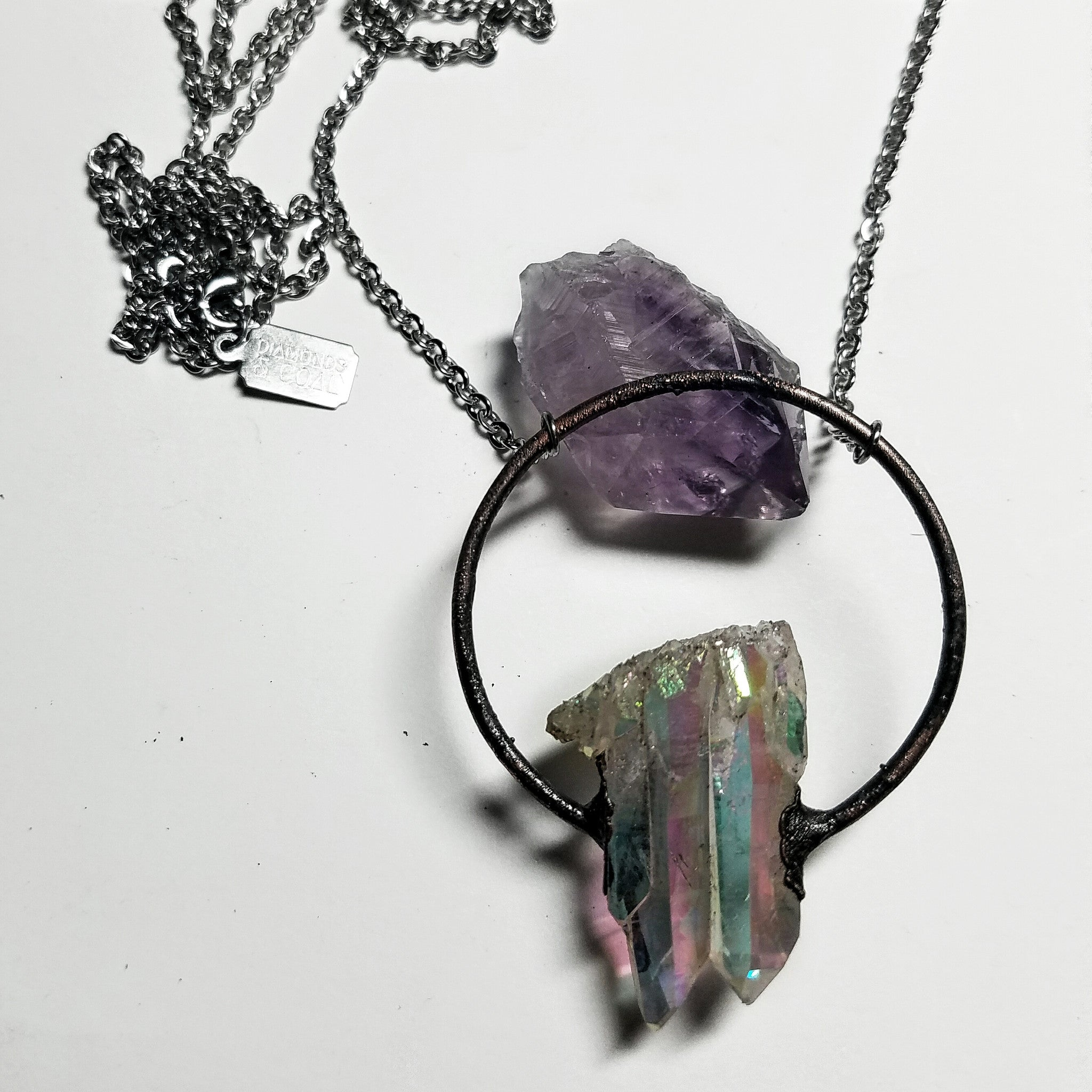 Electroformed Angel Aura Quartz Hoop Necklace #2