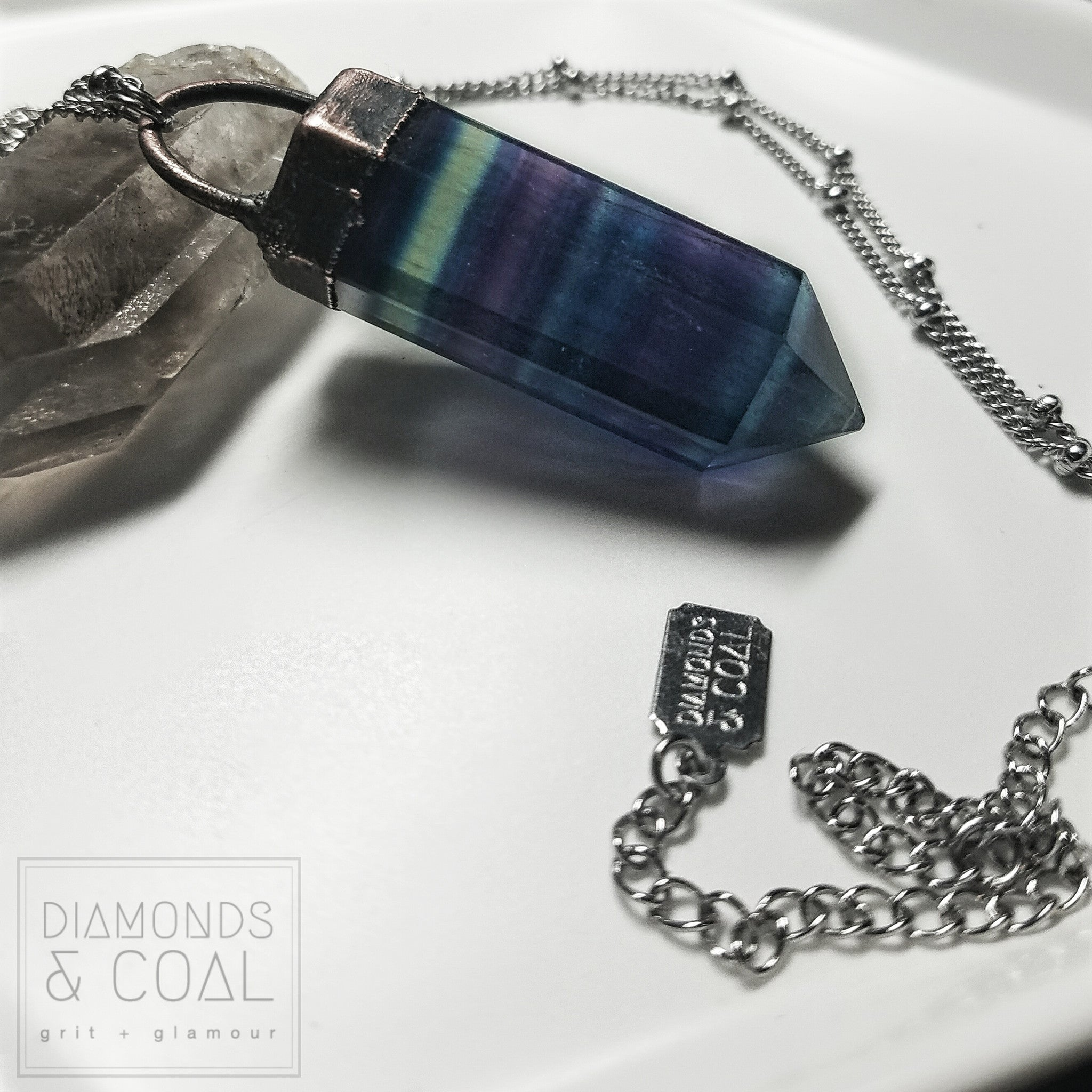 Electroformed Large Banded Flourite Point Necklace