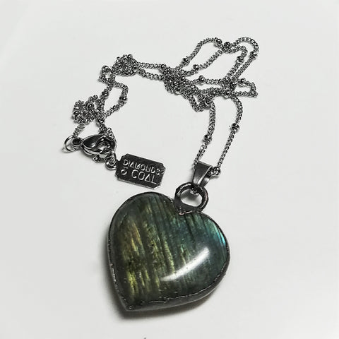 Electroformed Labradorite Heart Necklace