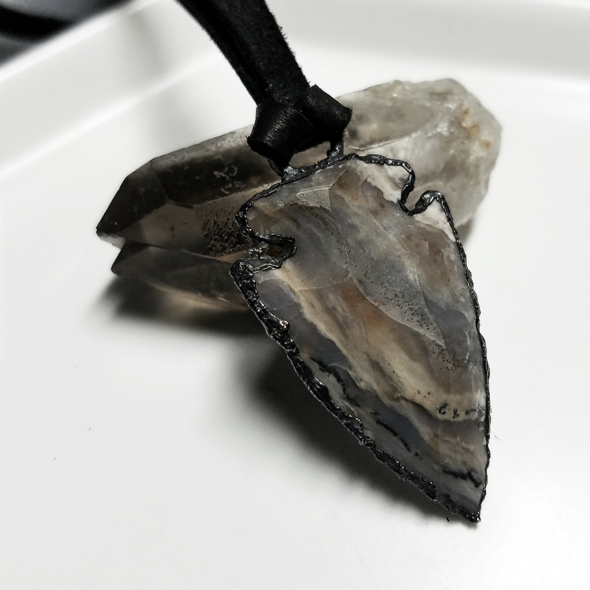 Electroformed Agate Arrowhead Necklace #1 - Reversible with Skull