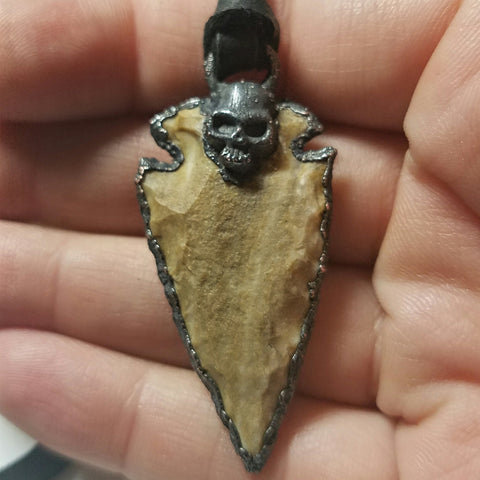 Electroformed Agate Arrowhead Necklace #4 - Reversible with Skull