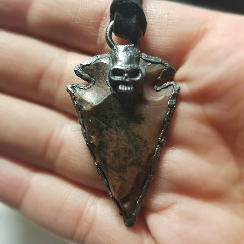 Electroformed Agate Arrowhead Necklace #5 - Reversible with Skull