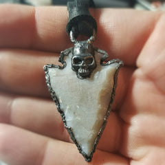 Electroformed Agate Arrowhead Necklace #6 - Reversible with Skull