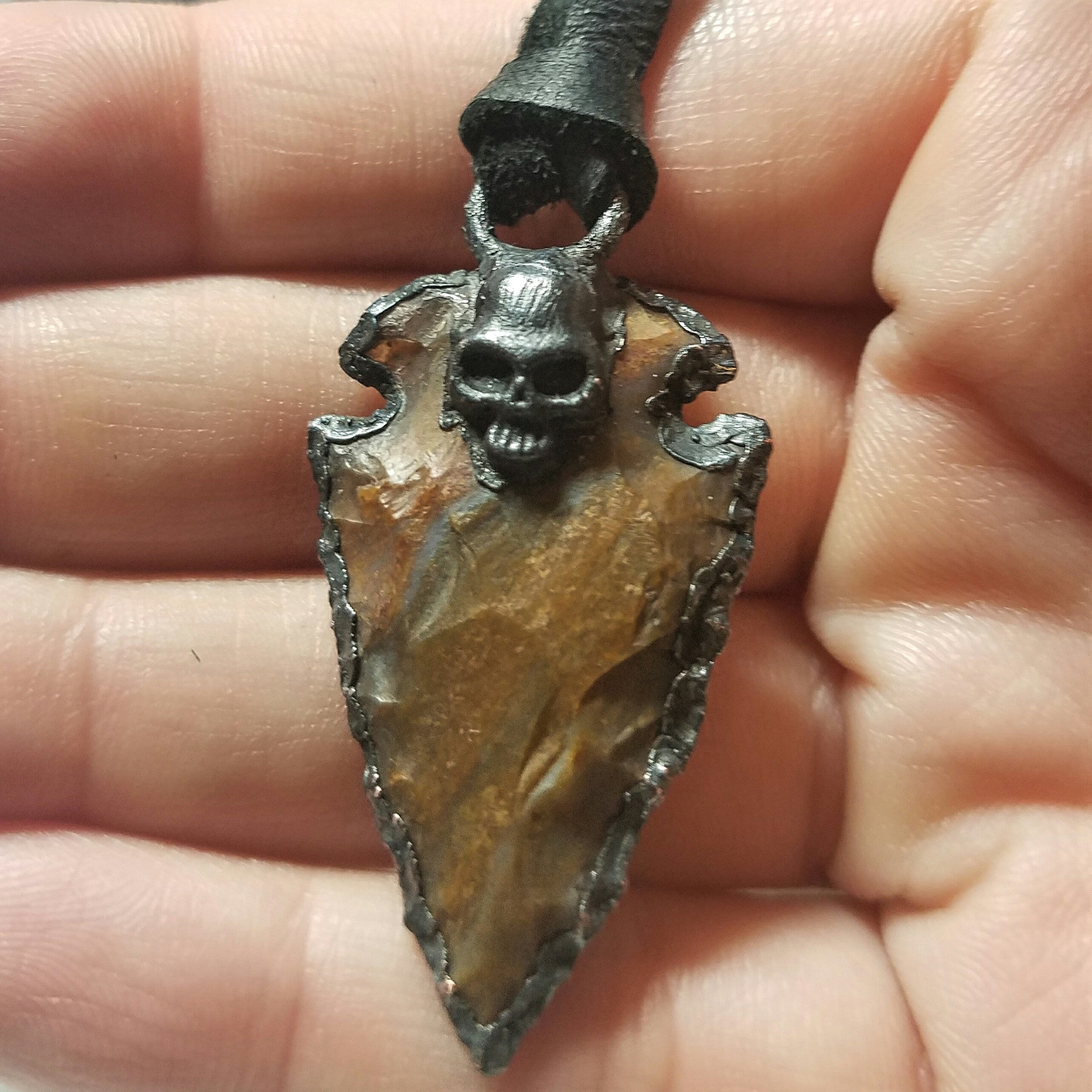 Electroformed Agate Arrowhead Necklace #7 - Reversible with Skull
