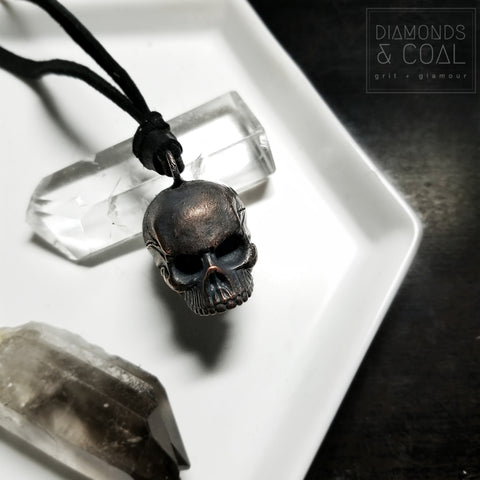 Electroformed Copper Skull Necklace