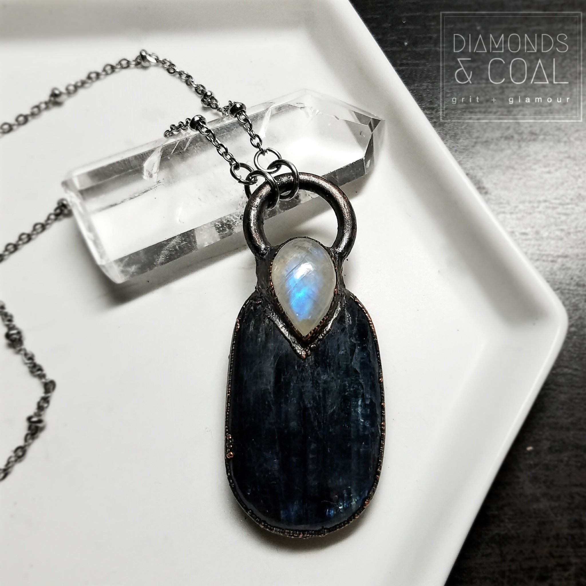 Electroformed Kyanite and Rainbow Moonstone Necklace
